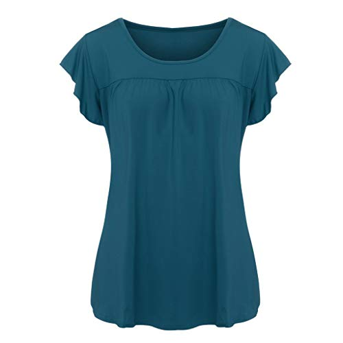 iBOXO Summer Casual Short Sleeve Top Solid Color O-Neck Lotus Leaf Small Flying Sleeve T-Shirt(Navy,XXL) ()