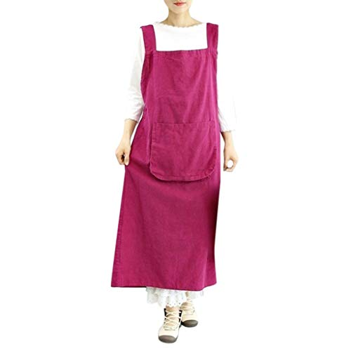 (Women Cotton Linen Work Pinafore Dress Pinafore Square Cross Apron Garden Dress Hot Pink)