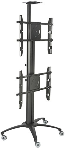 "Displays2go LPGP36WB2 Dual TV Stand, Single Sided, for 30-60"" Flat Screen Monitors, Camera Tray"