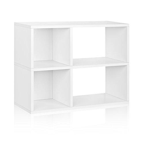 Way Basics Eco 2 Shelf Chelsea Bookcase & Cubby Storage, White