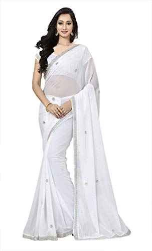 (KoC Women wear Wedding Hand Embroidery Work Saree Sari HNDWRKSAREE01-White)