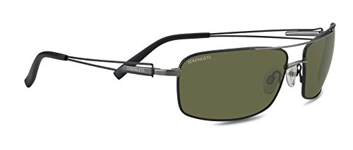 Serengeti Dante Sunglasses (Shiny Gun/Black Tannery, 555nm -