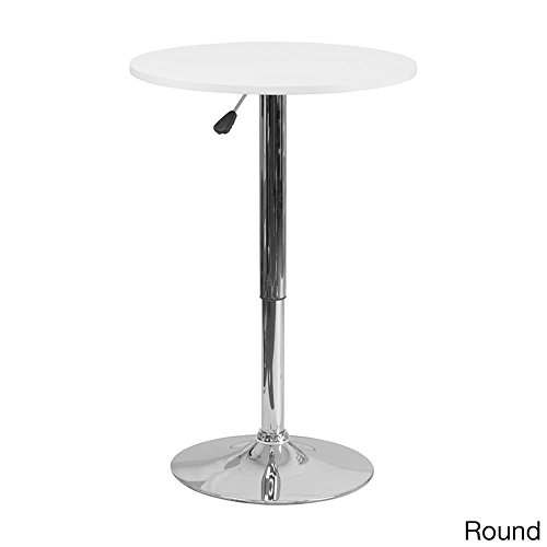 Offex 23.75'' Adjustable Height White Wood Pedestal Table - 23.75'' W x 23.75'' D x 40.5'' H Round by Offex