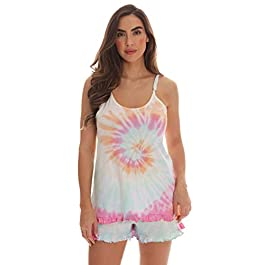 Just Love Tie Dye Pajama Short Set with Ruffle Detail