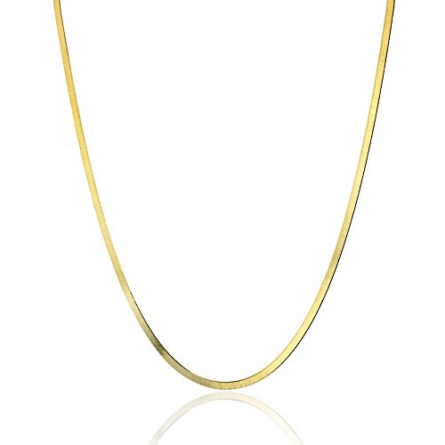 14k Gold Herringbone Chain Necklace (14k Yellow Gold 3mm Herringbone Chain)