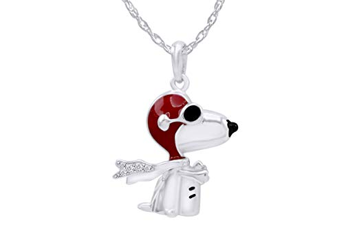 AFFY Flying Ace Snoopy Sterling Silver Enamel Pendant Necklace]()