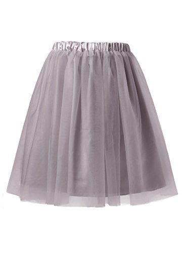 Emondora Women's Short Tulle Tutu Petticoat Ballet Retro Pleated Dance Skirts Grey Size M (Masked Ball Outfit)