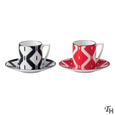 Jasper Conran Espresso Cup & Saucer Print Black and Red -