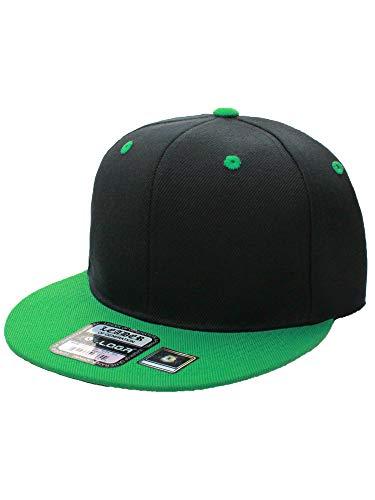 L.O.G.A. Plain Adjustable Snapback Hats Caps Flat Bill Visor - Black Green