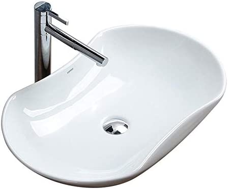 洗面ボール 北欧の上カウンター磁器容器シンクオーバル浴室ウォッシュアート盆地 洗面器 (Color : White, Size : 66x40x13cm)