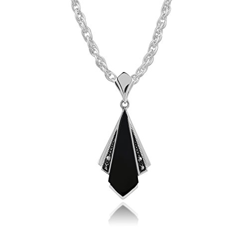 Gemondo Art Deco Necklace, 925 Sterling Silver Art Deco Black Onyx & Marcasite Pendant on 45cm Chain