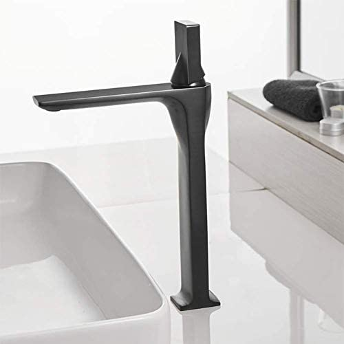 流域ミキサータップ、ミキサータップ、流域の蛇口コールドとホットブラックシングルハンドルの浴室の蛇口エレガントな水ミキサータップデッキがマウントされたバスルーム