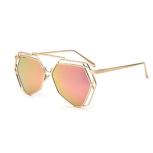 Polarizer Mirror Lunettes Couple de Mirror Couleur soleil Casual Amazing D Polygon Beach D Frame métal draq4PUqw