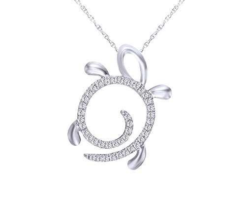 Christmas Sale 1/10 CT Round Cut White Natural Diamond Turtle Pendant Necklace in 10K Solid ()