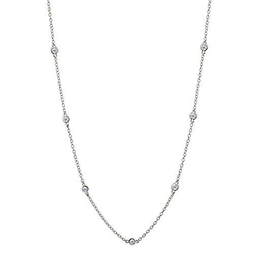 Sterling Silver Cubic Zirconia Station Dainty Chain Necklace, 16 Inches (Fashion 16' Zirconia Necklace Cubic)