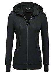 Se Miu Womens Simple Style Casual Long Sleeve Kangaroo Pocket Hoode Zip Up Solid Hoodie Sweatshirt