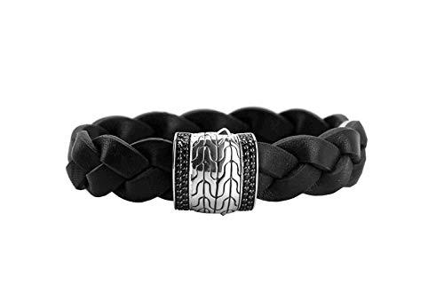 HJ John Hardy Sterling Silver Station Black Sapphire Leather Bracelet New 158B