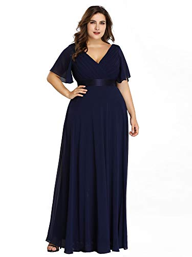 Alisapan Plus Size Evening Chiffon Dress Special Occasion Dresses for Women Navy Blue US26