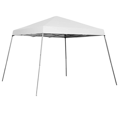 Outdoor Basic 8 x 8 Ft Canopies 10x 10 Ft Base Slant Legs Pop up Canopy Tent for Camping Party White