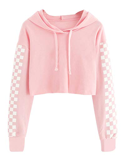 (Girls Plaid Long Sleeves Crop Tops Kids Cute Hoodies Casual Pullover Sweatshirts Spring Fall Clothes Pink Size 9-11 T)