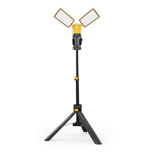 Lutec 3300 Lumen 36 Watt Dual-Head LED Work Light with Telescoping Tripod, Rotating Waterproof Lamps and 8 Ft 2-Prong Power Cord
