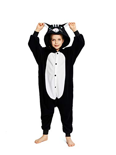 NEWCOSPLAY Unisex Children Black Cat Pyjamas Halloween Costume (8-Height 53-55