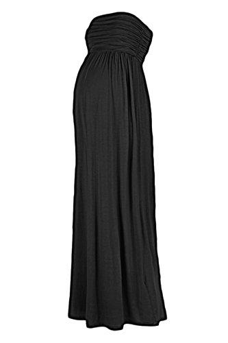 Beachcoco Women's Maternity Comfortable Maxi Tube Dress (M, Solid (Black Dresses For Women Maternity)