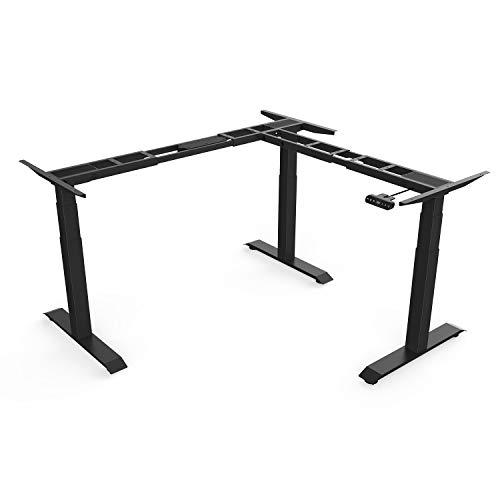 UP&TOP Electric Height Adjustable L-Shaped Sit Standing Desk Three Leg Frame W/Triple Motor, Ergonomic Sit Stand up Steel Base Digital Memory Keypad (Frame-Black) ()