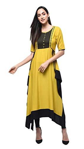 Dream Angel Fashion Women Dress Kurti Bollywood Designer Printed Anarkali Suit Kurta Ready to Wear (Yellow, - Salwar Designer Kurta