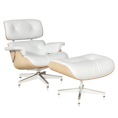 Premium Italian Leather Recliner - 1INCHOME Lounge Chair with Ottoman Mid-Century Lounge Chair Armchairs Premium Italian Leather Living Room Recliner with Heavy Duty Base Support (Ash White)