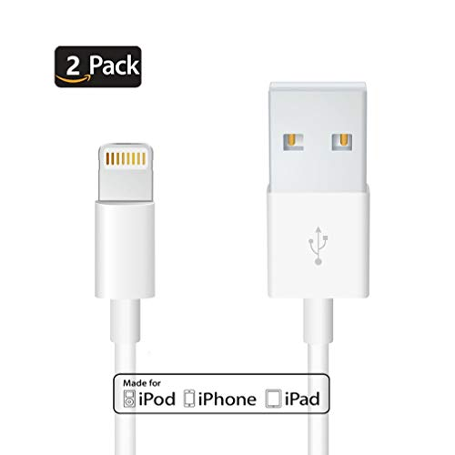2 Pack Apple iPhone/iPad Charging/Charger Lightning to USB Cable[Apple MFi Certified] Compatible iPhone Xs Max/Xr/Xs/X/8/7/6s/6plus/5s,iPad Pro/Air/Mini,iPod Touch(White 1M/3.3FT) Original Certified