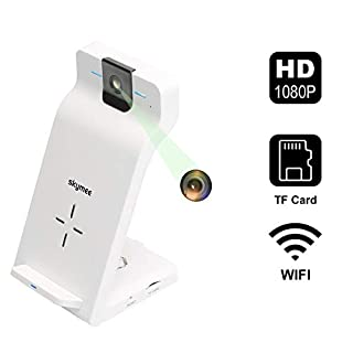 Skymee 1080P Indoor IP Security Camera with WiFi Fast Wireless Charger, Motion Detection, Night Vision, Two-Way Audio and App Remote Monitoring for Baby Pet, All Qi-Enabled Phones(Included AC adapter)