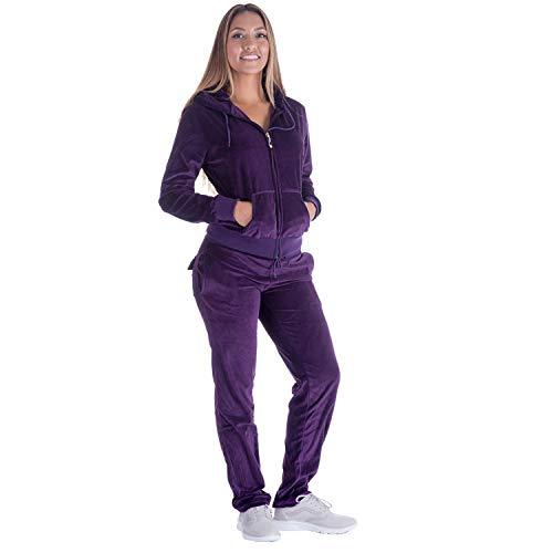 Women Jogging Suit Sets Plus Size Velvet Zip Up Hoodie & Sweatpant Tracksuits Purple 2XL