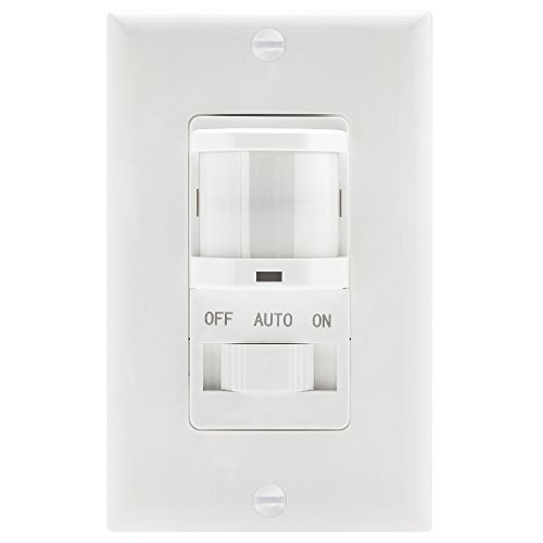 TOPGREENER TSOS5-White In Wall PIR Motion Sensor Light Switch, Occupancy Sensor Switch, On/Off Override, Single-Pole, Fluorescent 500VA/Motor 1/8Hp/Incandescent 500W, Neutral Wire REQUIRED, White by TOPGREENER