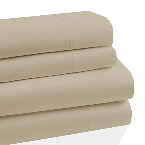 Westbury Manor 400 Thread Count 100% Combed Cotton 4 Piece Sheet Set, Soft Sateen Weave,Queen Sheet Set, Egyptian Quality Cotton, Deep Pockets,Hotel Collection,Luxury Bedding, Taupe