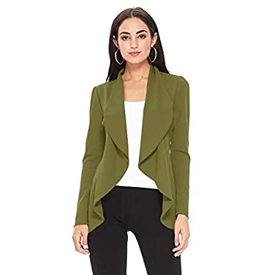 Women's Open Front Long Sleeves Casual Work Blazer Jacket Cardigan with Plus Size Suit at Women's Clothing store