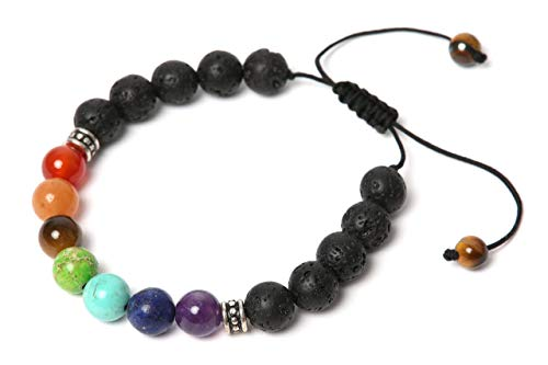 Natufa Premium 7 Chakra Healing Lava Rock Bracelet with Real Energy Stones | Adjustable and an Oil Diffuser | for Man and Woman, with Gift Box and Description – Perfect as Gift