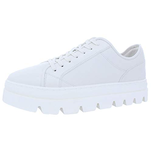 Steve Madden Kickstart Women Leather Fashion Sneaker Shoe White Size ()