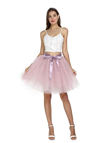 Women's High Waist Princess Tulle Skirt Adult Dance Petticoat A-line Wedding Party Tutu Dusty Pink -