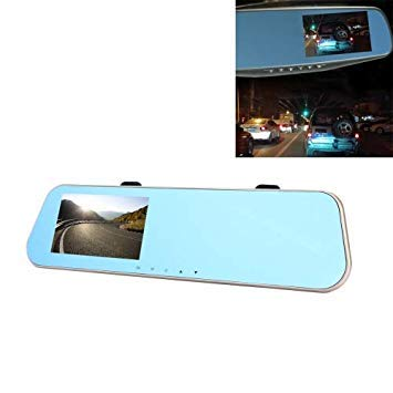 Uniqus Left Screen Display Rearview Mirror Vehicle DVR, Allwinner Programs, 2 x Cameras 1080P HD 140 Degree Wide Angle Viewing, Support GPS Port Motion Detection Night Vision TF Card G-Sensor