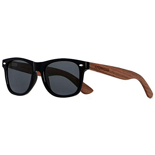 Wood Sunglasses Polarized for Men Women Uv Protection Wooden Bamboo Frame Mirror Sun Glasses ()