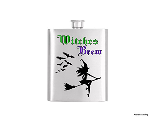 Witches Brew Sexy Witch and Bats Halloween Flask