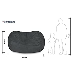 Lumaland Luxury 6-Foot Bean Bag Chair with Microsuede Cover Black, Machine Washable Big Size Sofa and Giant Lounger Furniture for Kids, Teens and Adults