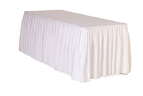 (Your Chair Covers 21 ft x 29 inch Polyester Pleated Table Skirts White)