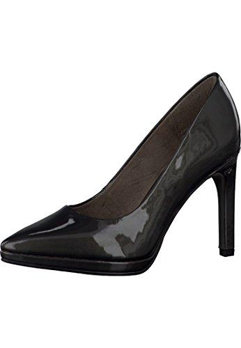Tamaris 1-22432-27 Schuhe Lack Plateau Pumps High Heels Grau