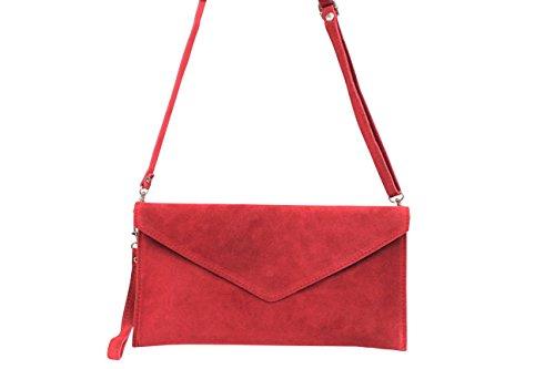 AMBRA Moda Mujer ante Envelope Clutch correa de mano bolso hombro Antebrazo bolso para mujer de piel de velour wl801 Rojo