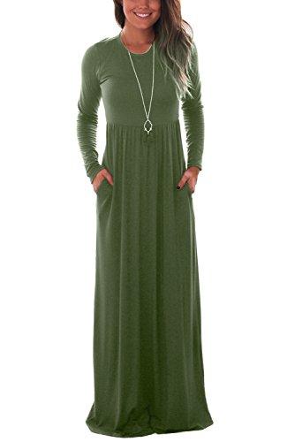DawnRaid Women's Jersey Maxi Floor-length Long Dress with High Waist Army Green Long Babydoll Dress 2XL