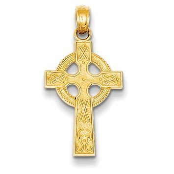 14K Yellow Gold Celtic Cross Pendant - (0.87 in x 0.51 in)