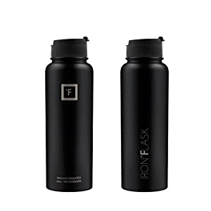 Iron Flask - 40 Oz, 3 Lids, Vacuum Insulated Stainless Steel Water Bottle, Hot & Cold, Wide Mouth, Nalgene, Double Walled, Simple Flow Thermo Modern Travel Mug, Hydro Canteen Powder Coated, Black