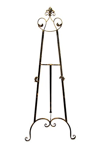(Designstyles Decorative Metal Easel Stand - Adjustable Floor Display for Art Pieces, Signs, Mirrors and Chalk/Dry Erase Boards - 59